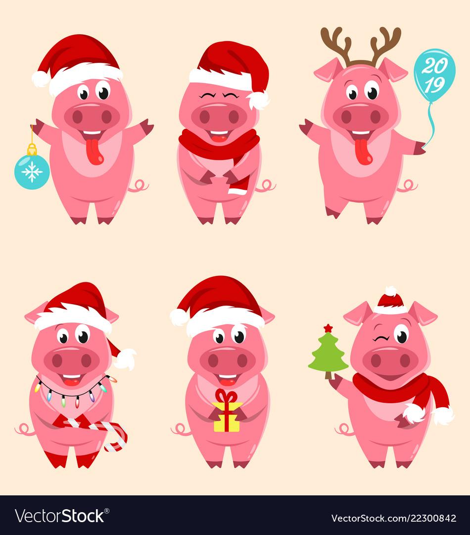 Christmas cartoon pigs portrait in santa s hat
