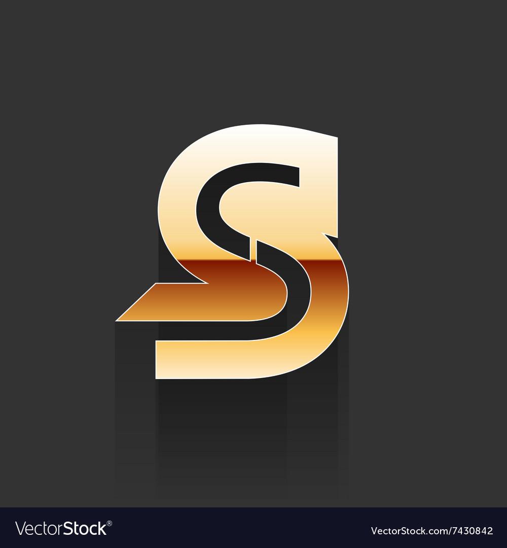 Gold Letter S Shape Logo Element