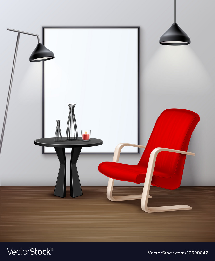 Modern Urban Interior Mockup Realistic Poster Vector Image