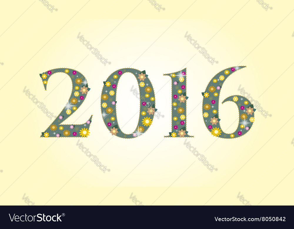 New year 2016 text design with flowers