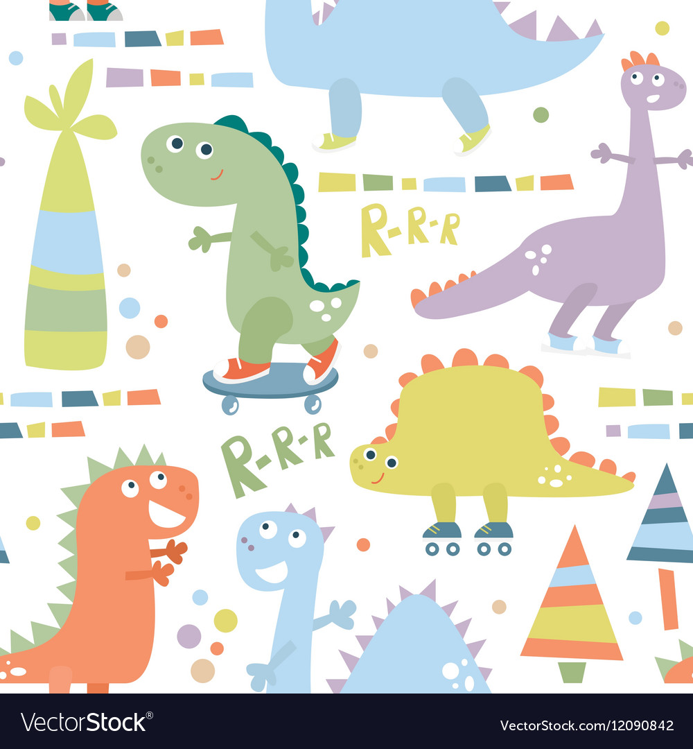 Seamless pattern with dinosaur Baby background
