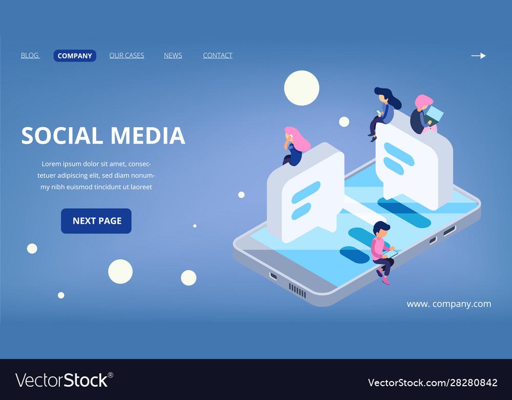 Social media landing page virtual communication