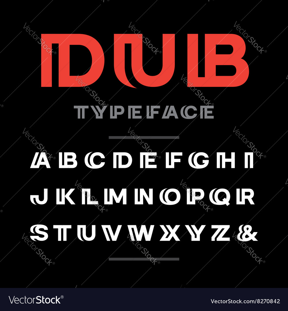 Wide font alphabet with latin letters and numbers vector image