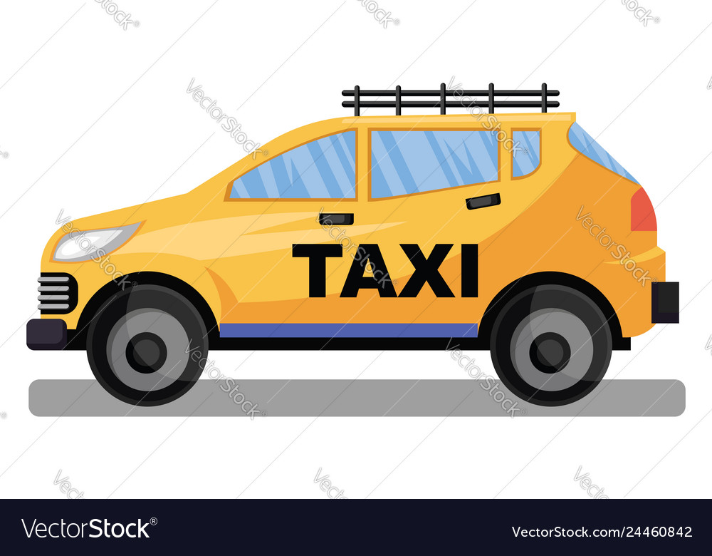 Yellow taxi car llustration on white background