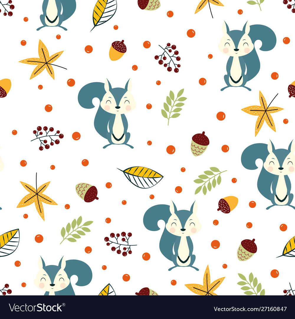 Autumn pattern with squirrel and leaves
