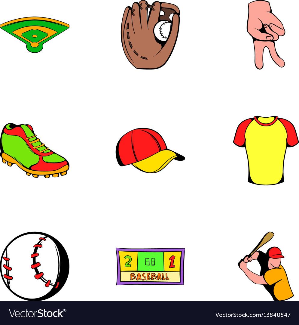 Baseball cap icons set cartoon style