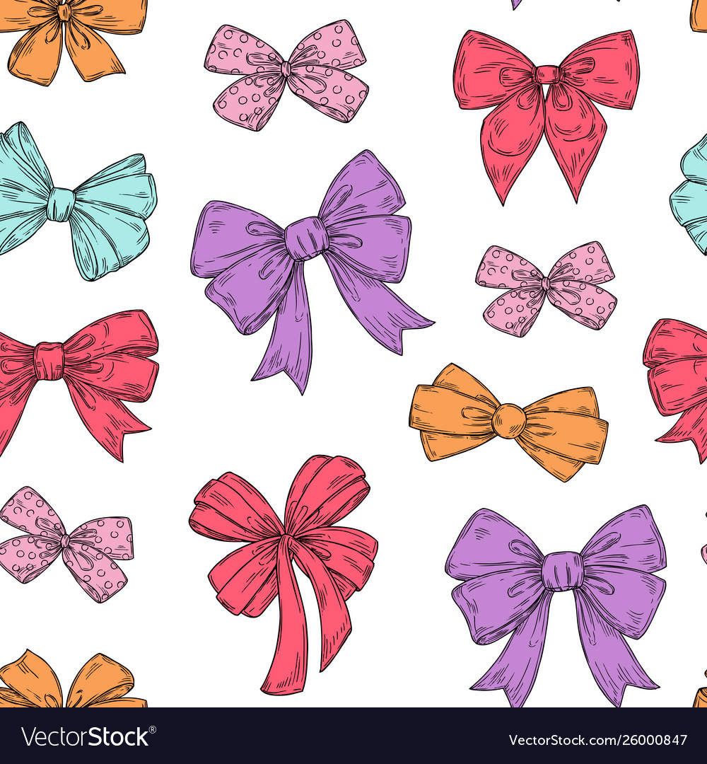 Bows pattern fashion tie bows accessories sketch