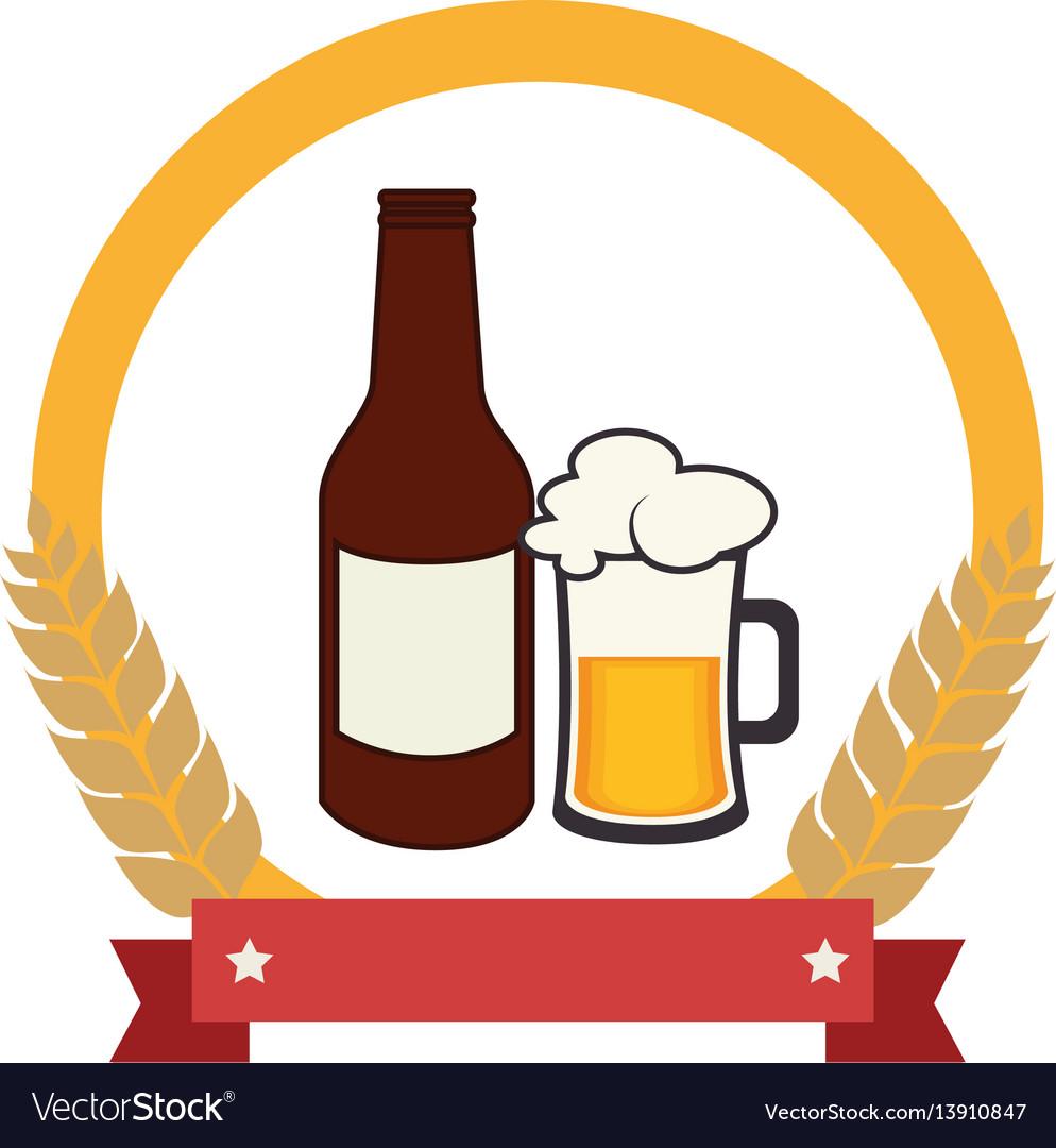Color emblem with beer bottle