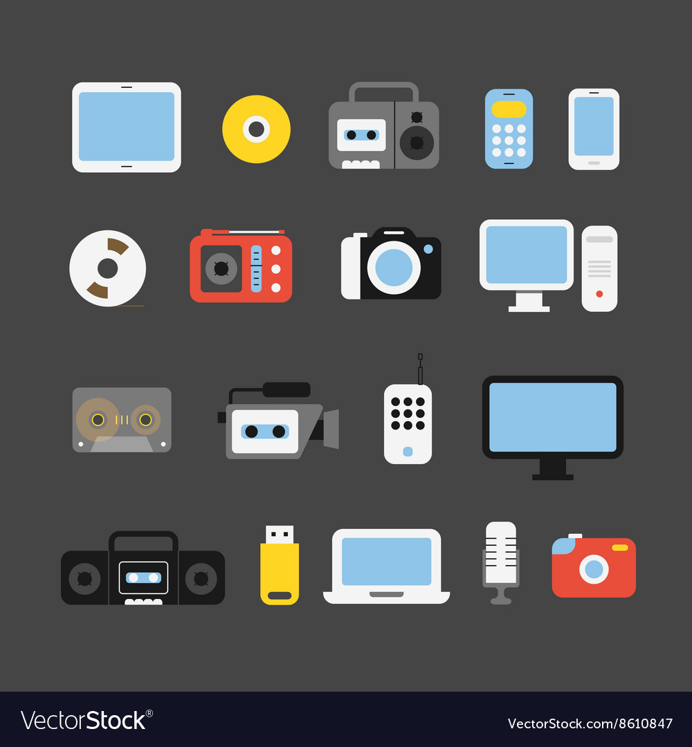 Different color media devices collection Design