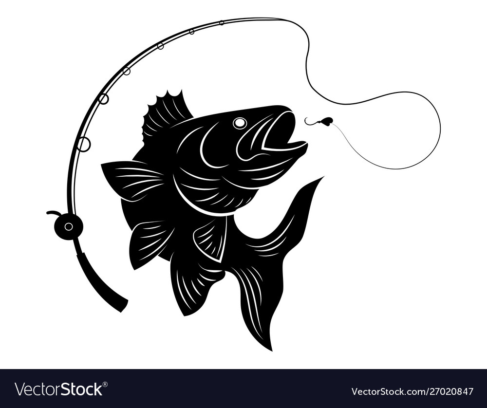 Fishing Logo Black And White A Royalty Free Vector Image