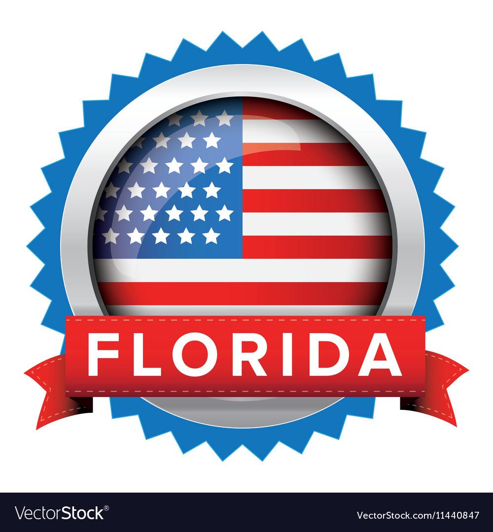Florida and USA flag badge vector image