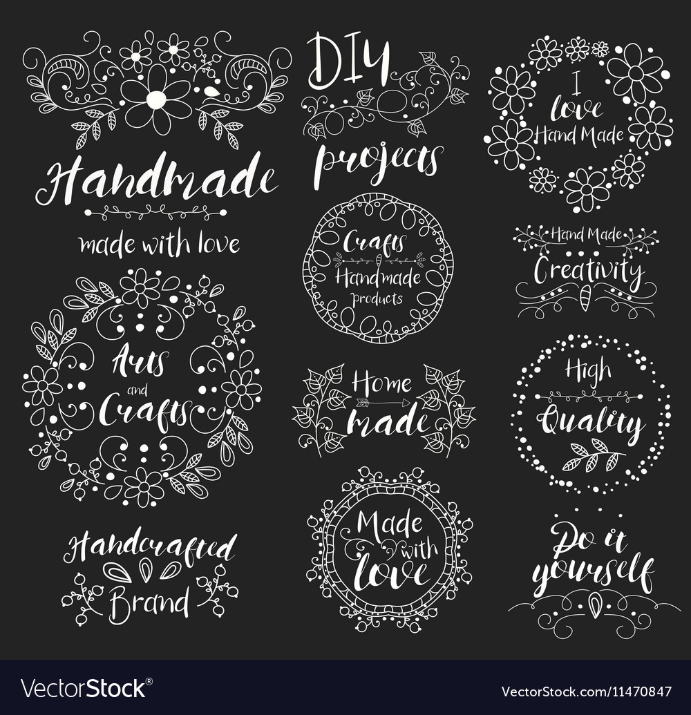 Handmade arts and crafts Insignias logotypes vector image