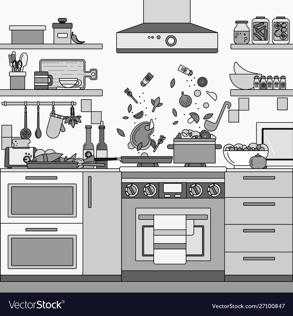 Home kitchen interior line monochrome