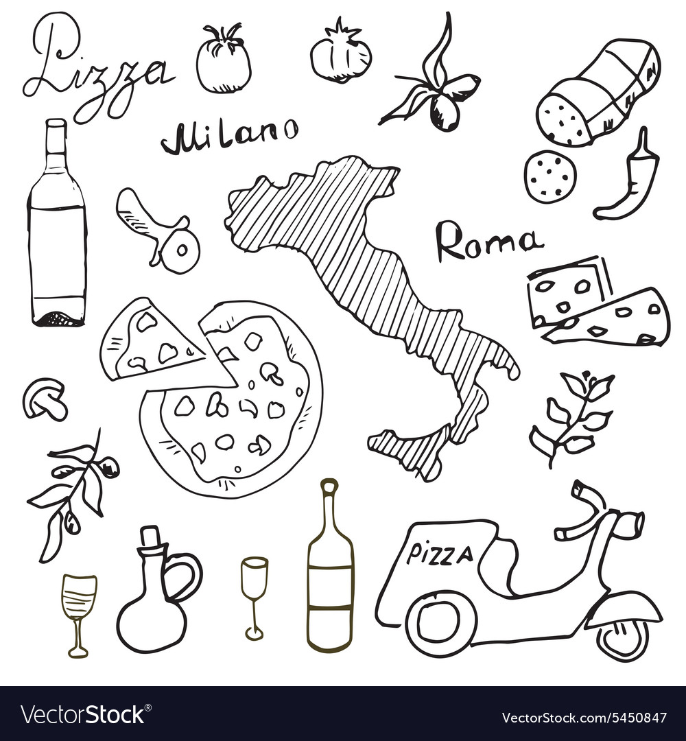 Italy doodles elements Hand drawn set with pizza