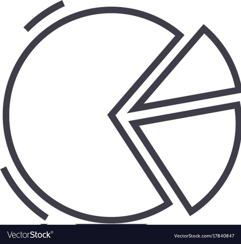 Pie graph line icon sign o vector image
