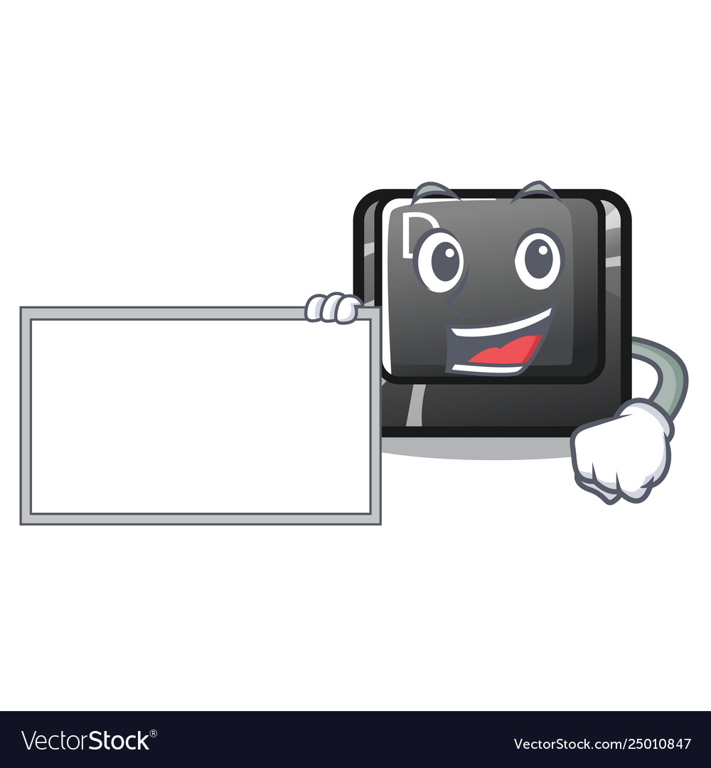 With board button d on a computer mascot