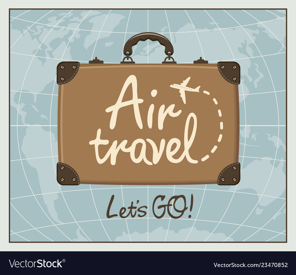 Banner for air travel with brown suitcase