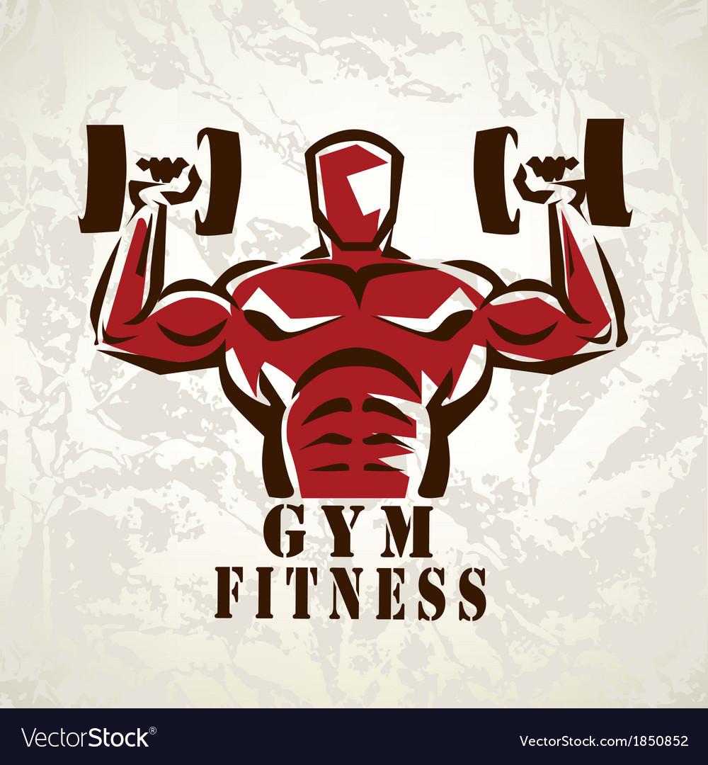 Bodybuilder athlete exercising symbol vector image