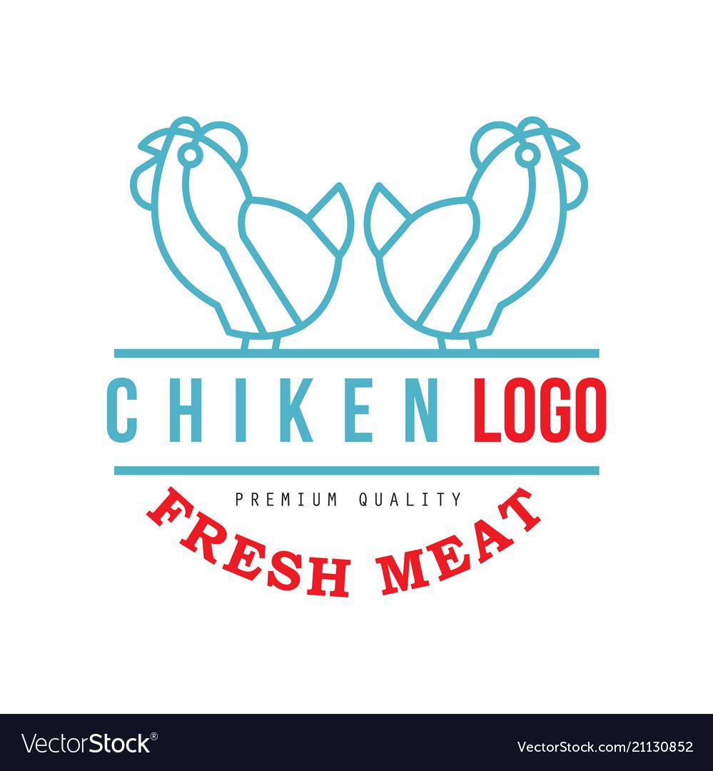 Chicken logo fresh meat premium quality badge for