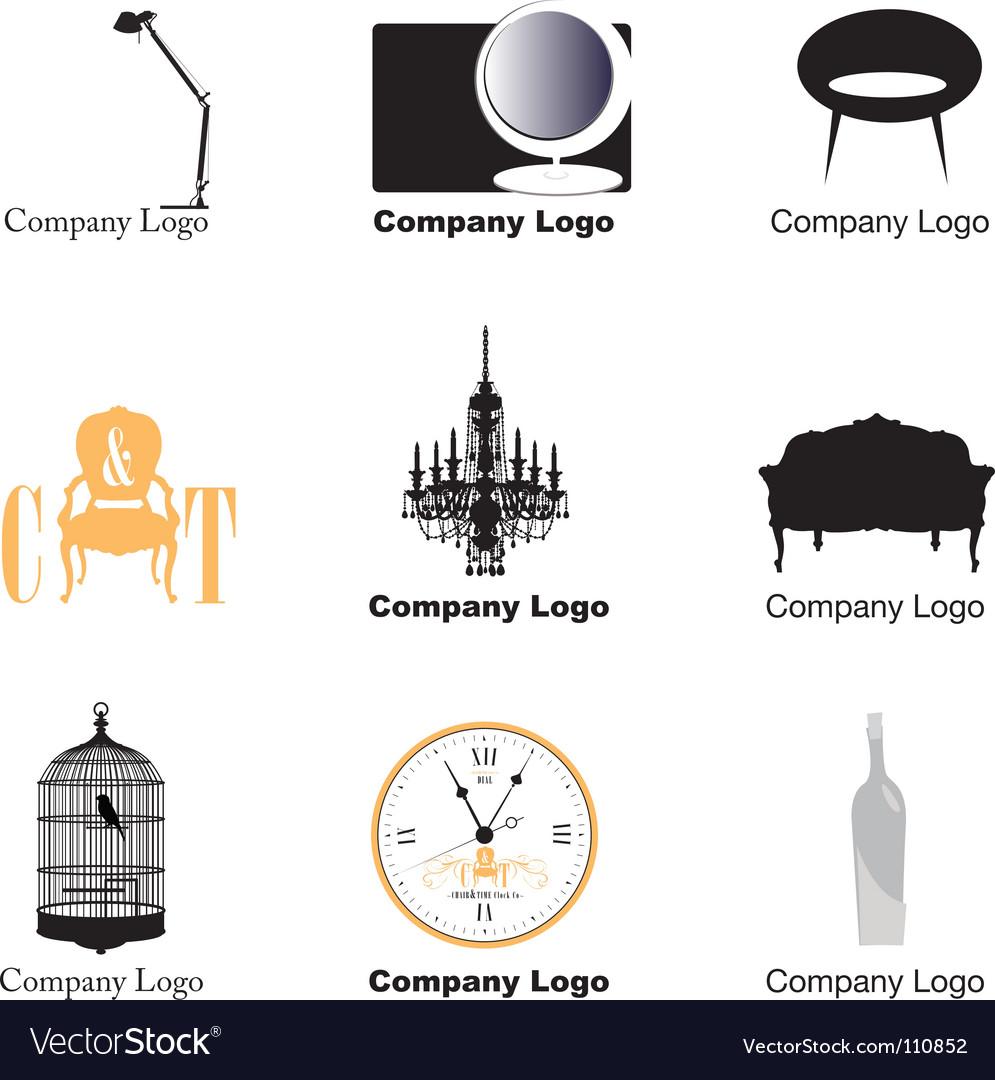 Furniture logos Royalty Free Vector Image VectorStock
