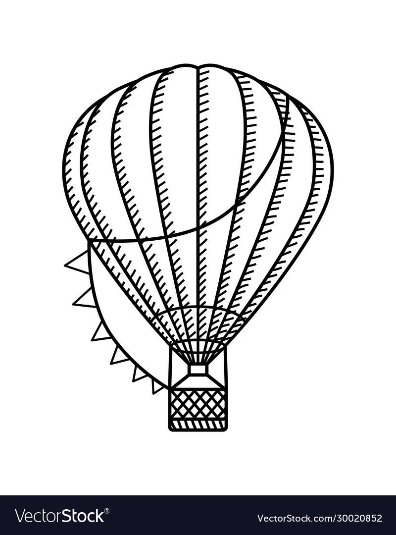 Hot air ballon black and white