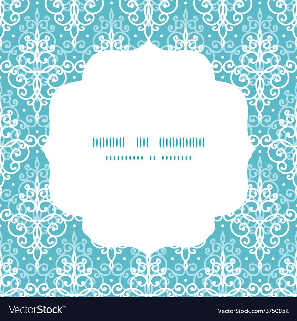 Light blue swirls damask circle frame