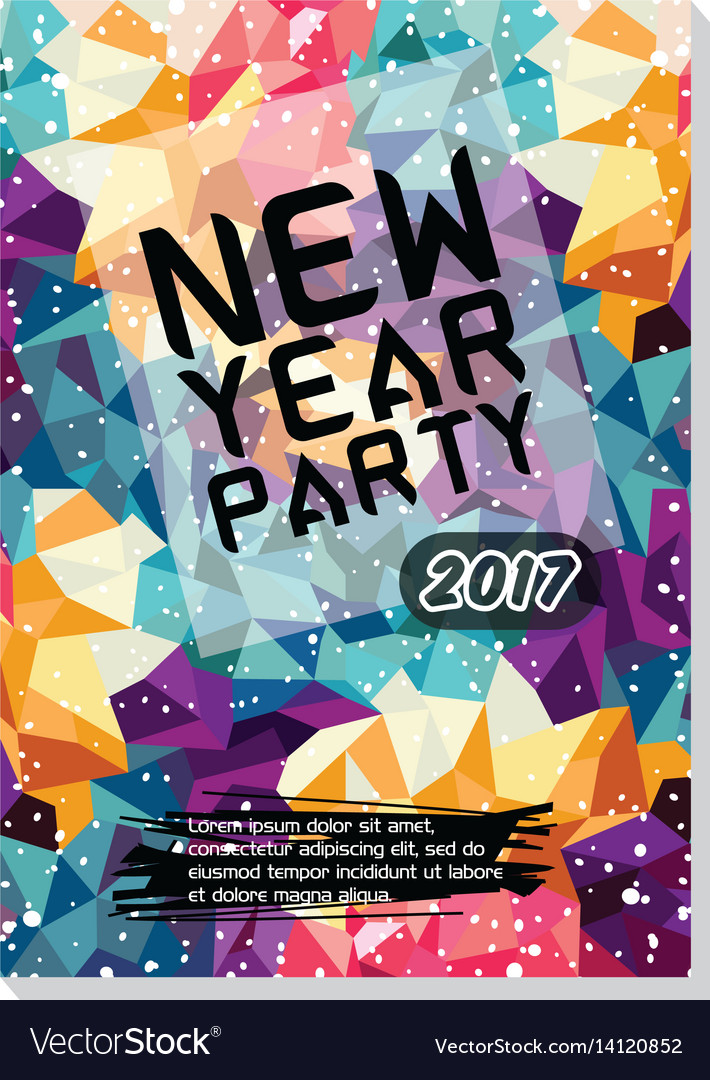New year party flyer poster template vector image