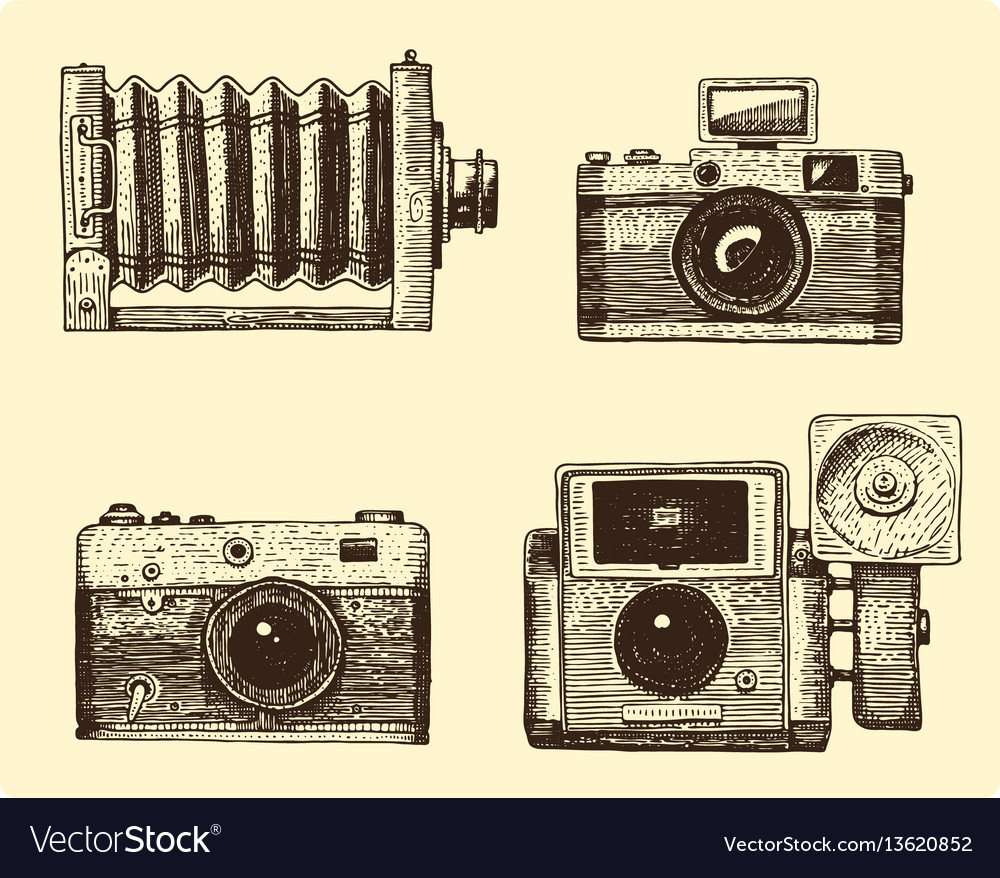 Photo camera set vintage engraved hand drawn in