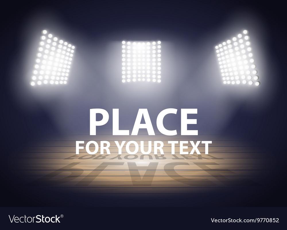 Stadium lights Three spotlights on a Basketball vector image