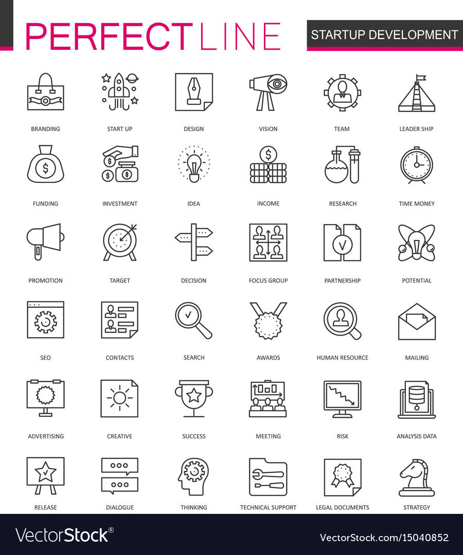 Start-up and development thin line web icons set