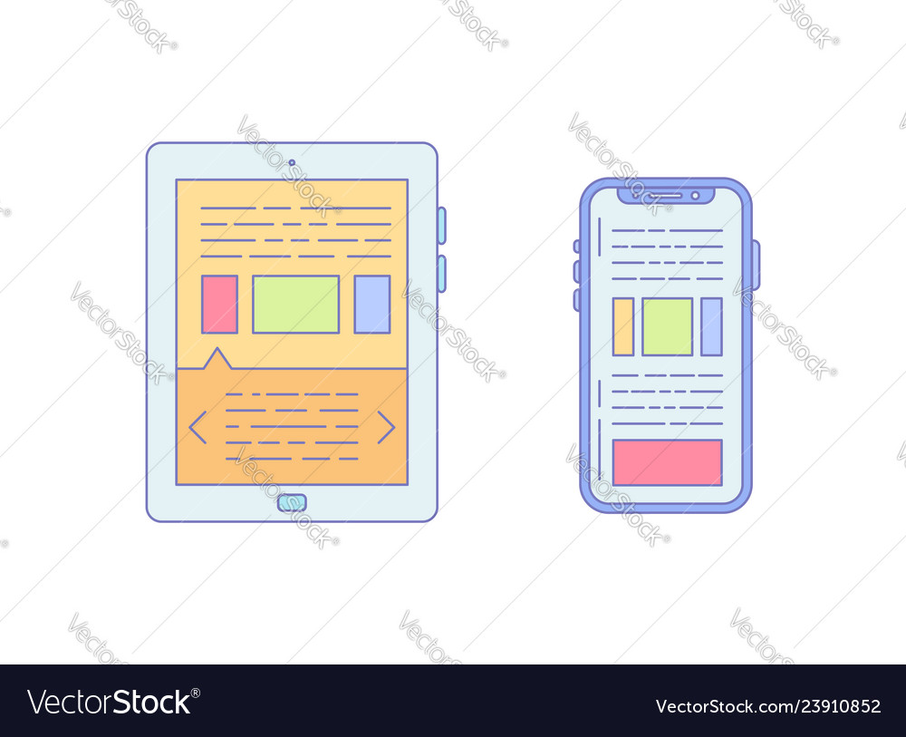 Tablet smartphone lined icon for business