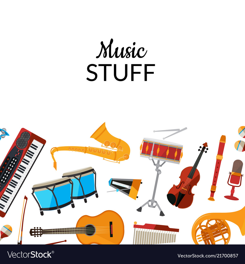 Cartoon musical instruments background with