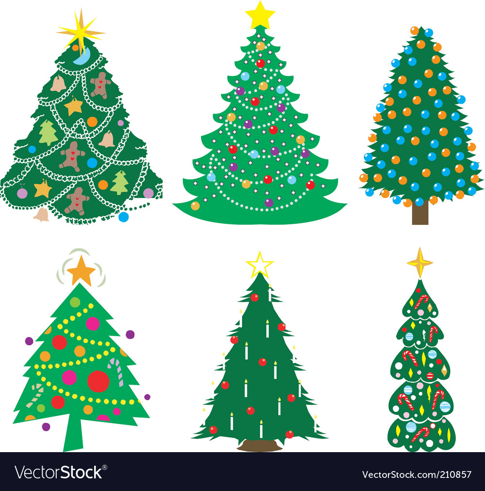 Christmas tree icons Royalty Free Vector Image