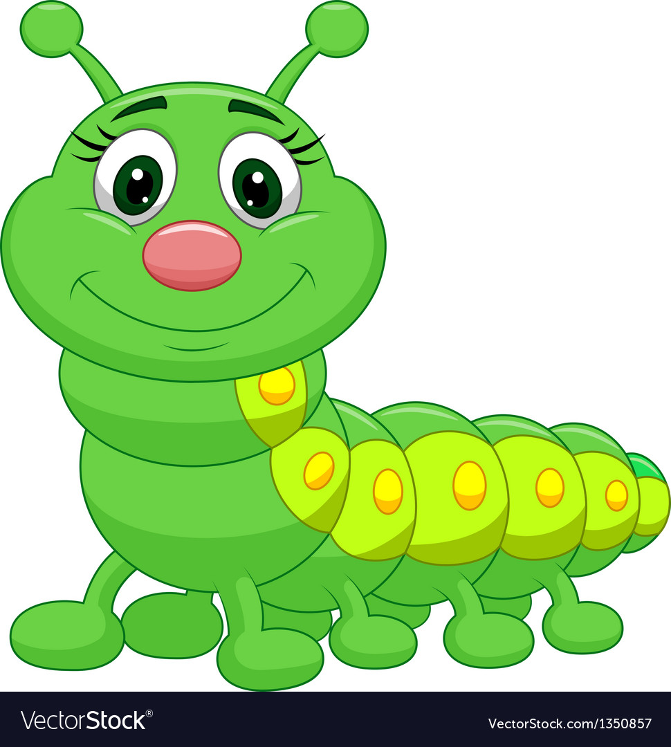 Cute Green Caterpillar Cartoon Royalty Free Vector Image
