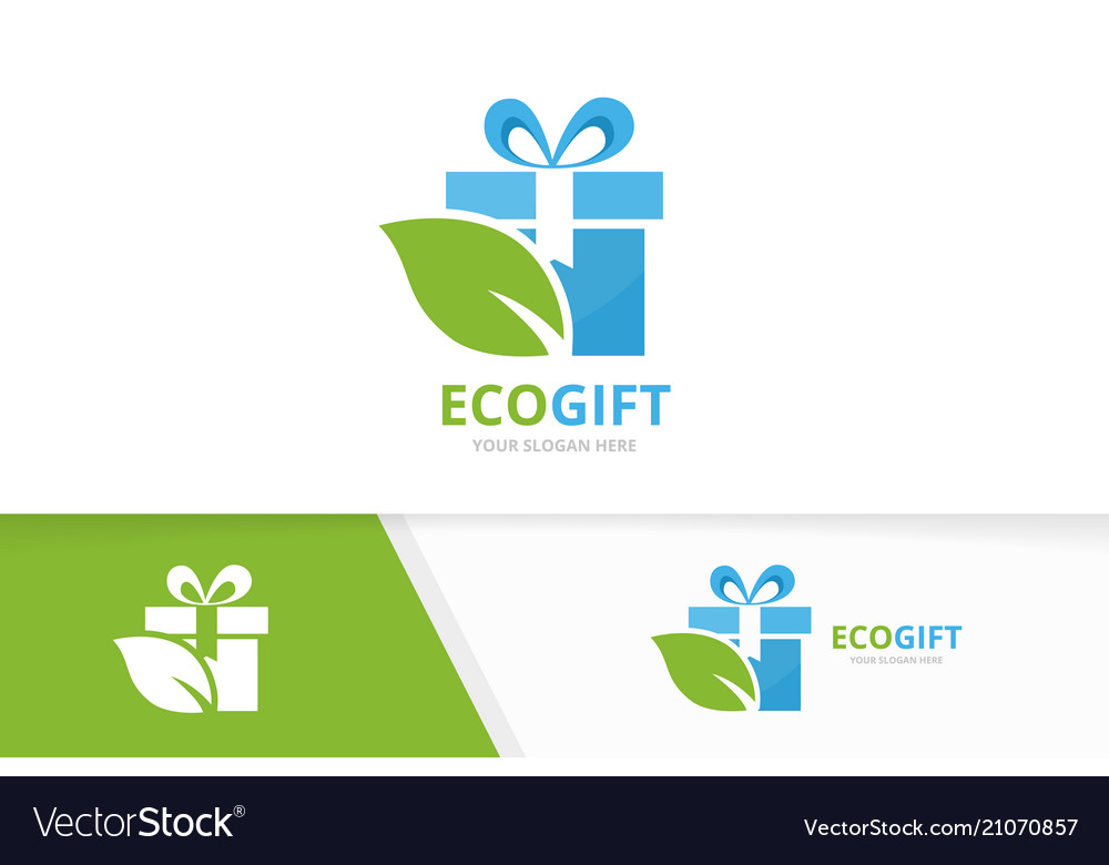Gift and leaf logo combination present and