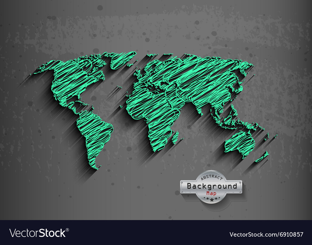 Hand drawn green world map on a grey background vector image gumiabroncs Gallery