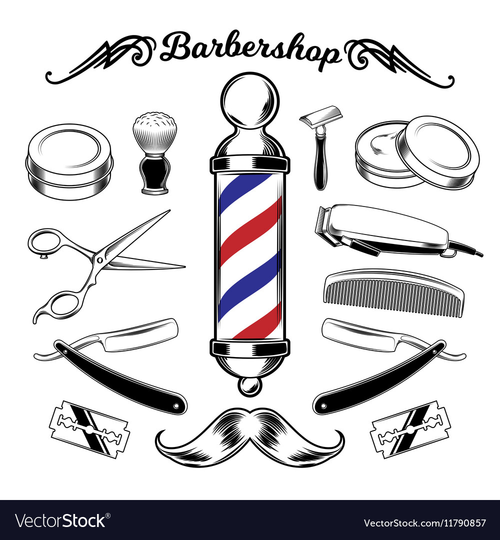Monochrome collection barbershop tools