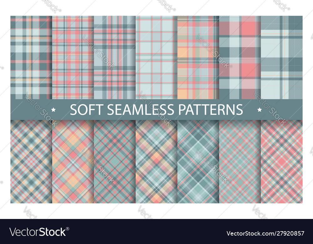 Plaid pattern seamless ornate set soft background