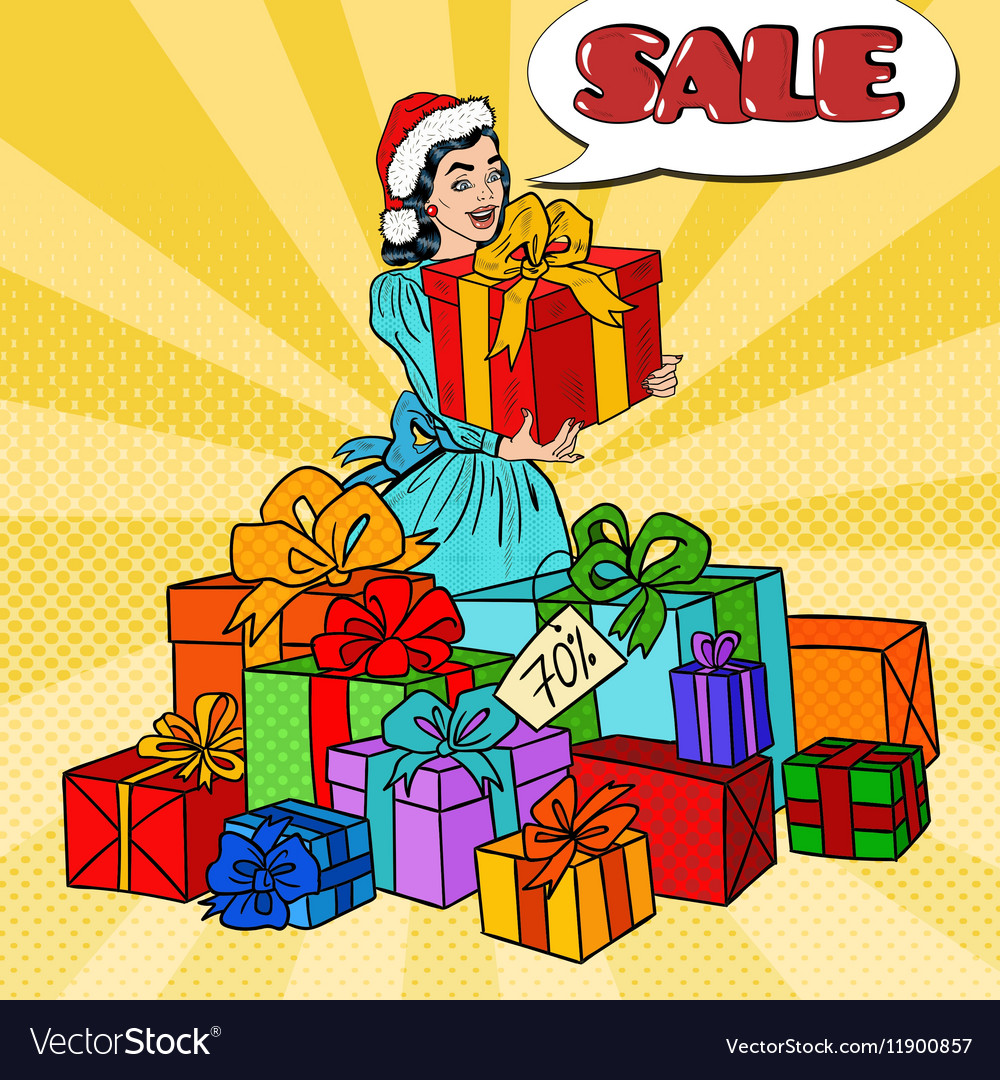 Pop Art Woman with Gift Boxes on Christmas Sale