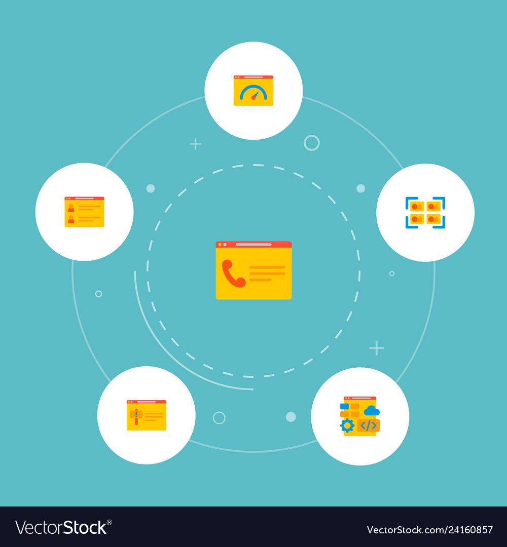 Set of website icons flat style symbols with team