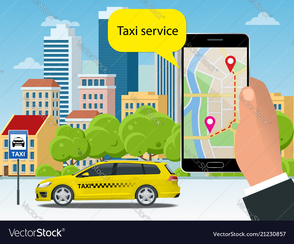 Yellow taxi cab and mobile application in phone