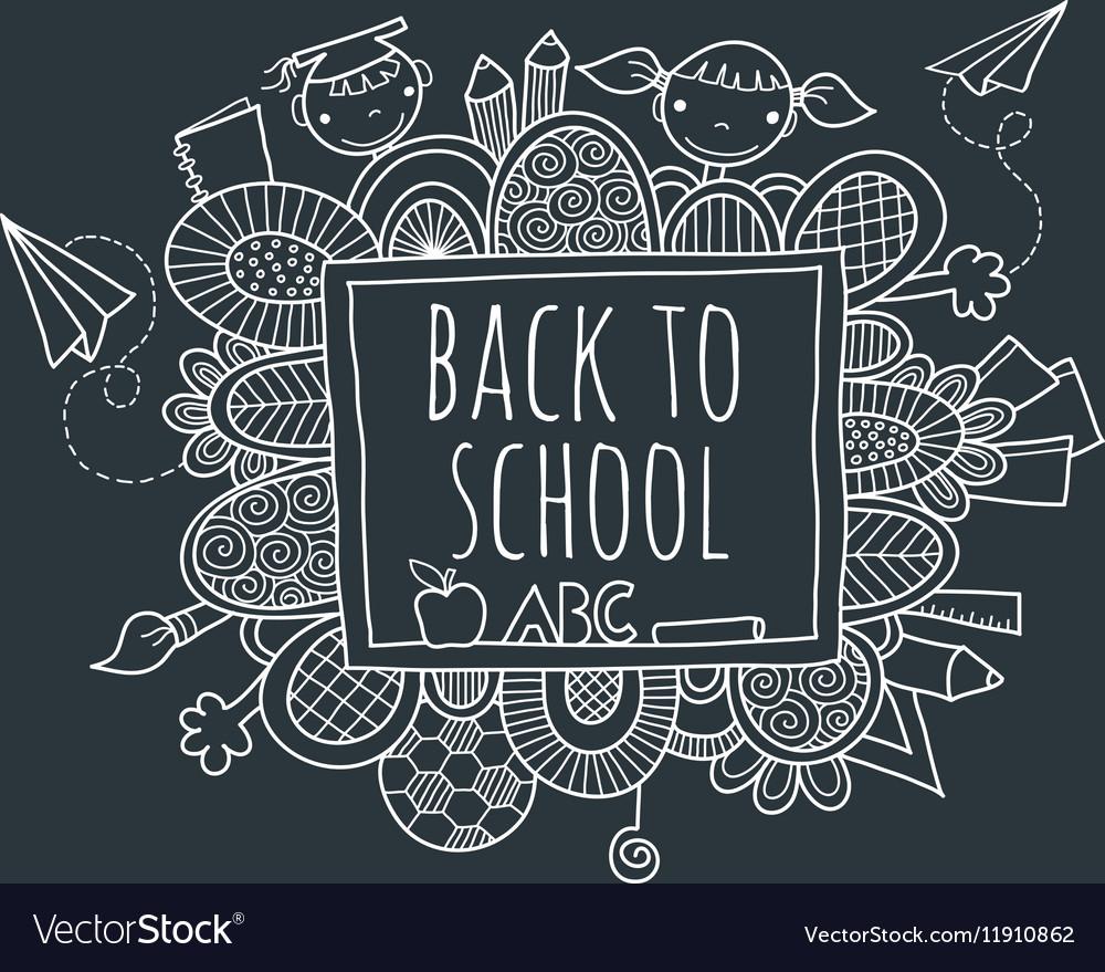 Back to School Blackboard Hand Drawn Doodle vector image