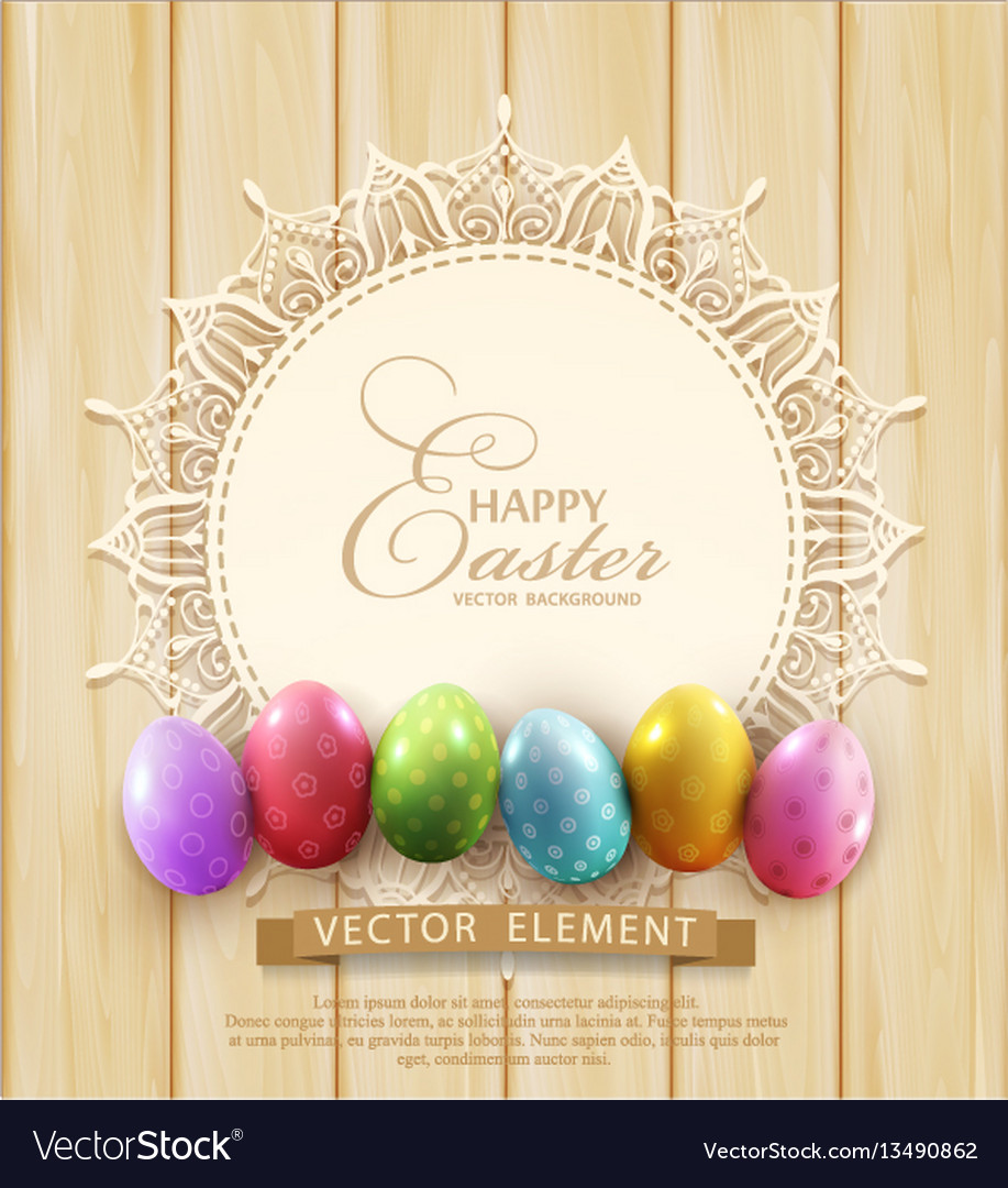 Background with a circle lace and easter eggs