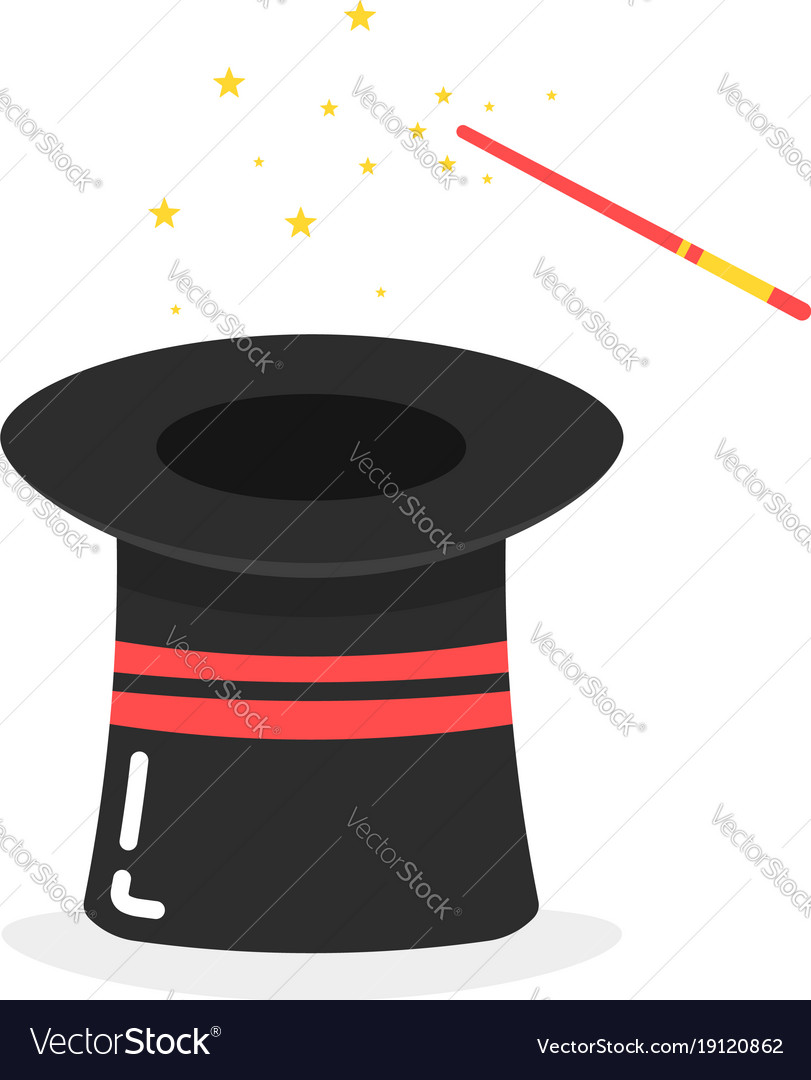 Black inverted magic hat icon on white background
