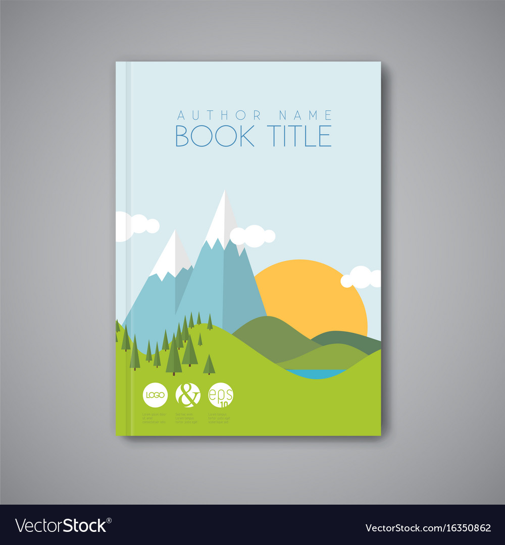 Book cover design template with flat landscape vector image maxwellsz