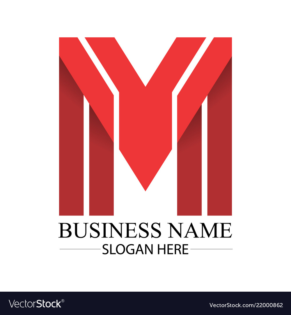 Business red m letter logo template
