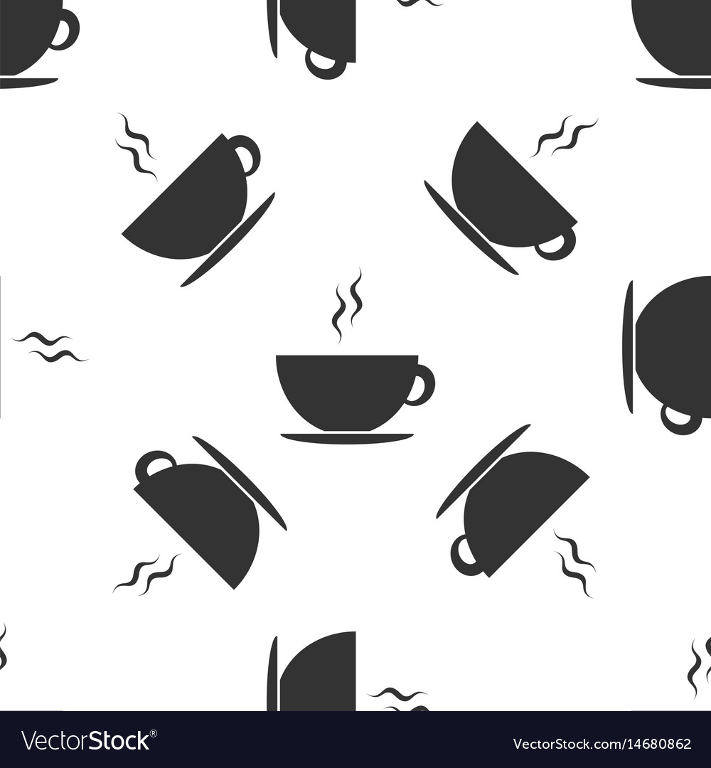 Coffee cup icon seamless pattern on white