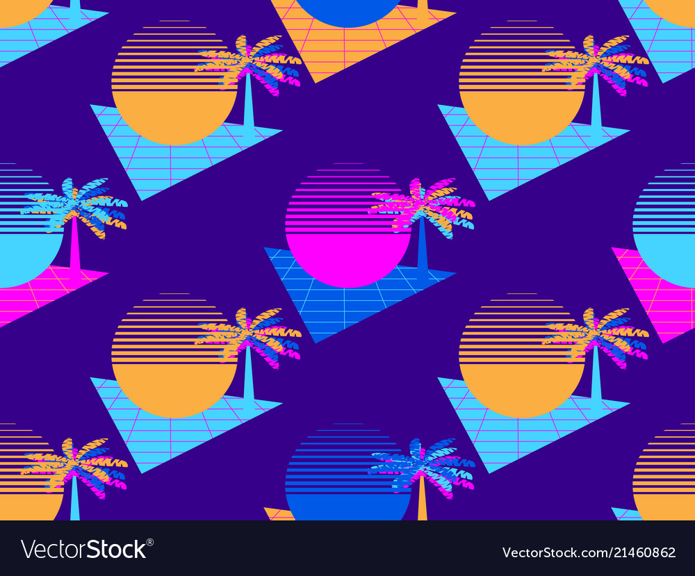 Futuristic palm tree and sun seamless pattern