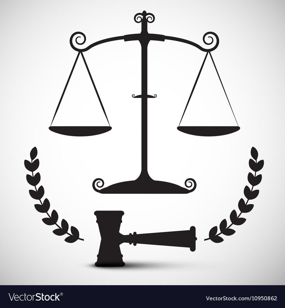 Justice Scales Symbol Law Hammer Gavel Pictogram