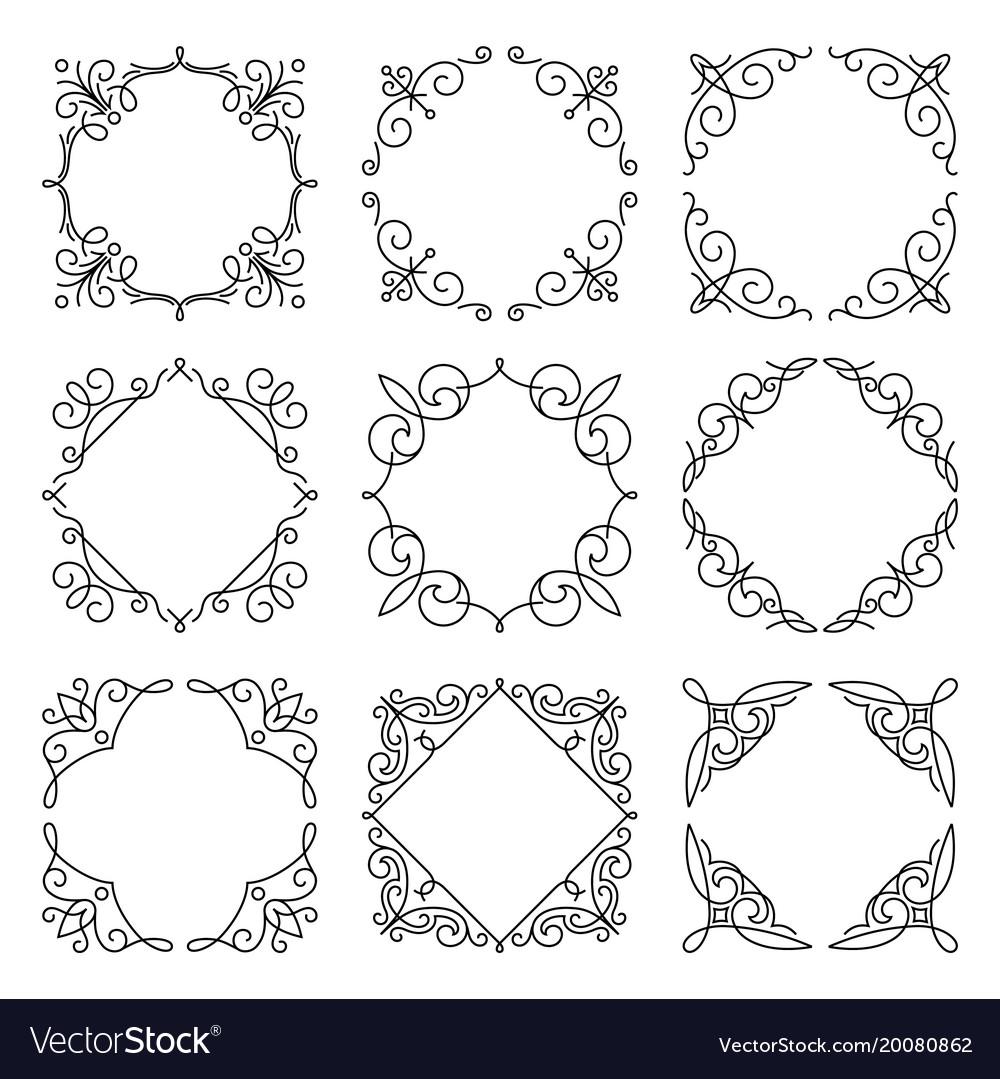 Line monogram frames set background Royalty Free Vector